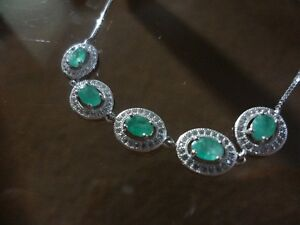 silver and emerald adjustable bracelet comes with appraisal