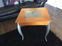 Side table with silver metal legs