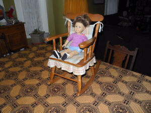 Small rocking chair for child and bench for doll