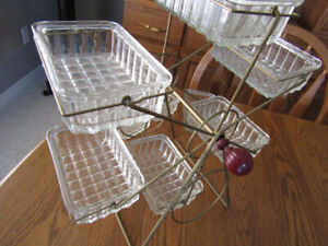 Vintage Ferris Wheel Serving Set with Crystal Condiment Dishes