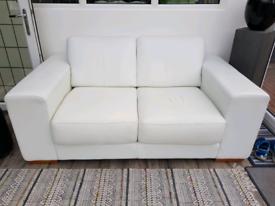 Sofa white Leather 2 seater