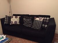 dFS black 3/4 seater sofa USED pls note not sofa bed