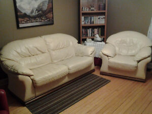 Italian Leather Sofa and Chair For Sale