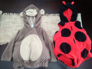 2 Carter's halloween costumes. 12 & 24 months. Lady bug & monkey