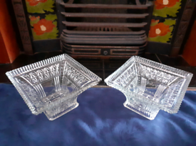Two Large Vintage Decorative Glass Display Bowls