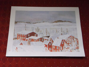 "Lovely June Olsen Print entitled ""Lunenburg Harbour in Winter"""