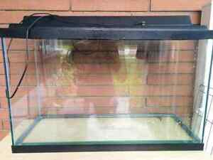 29 gallon fish tank, light, and stand