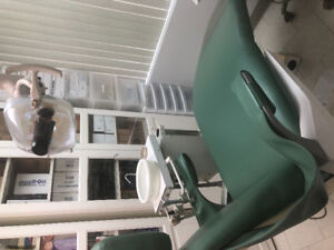 Dental Chair X-ray unit and overhead light. . In good condition