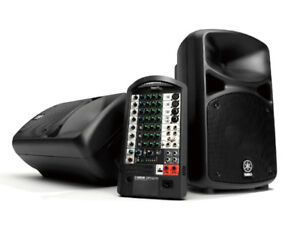 Yamaha Portable PA System  and Fender Stands