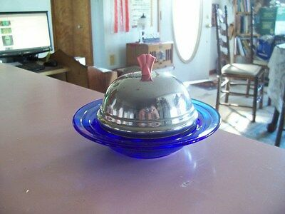 Moderntone cobalt blue butter dish with metal lid