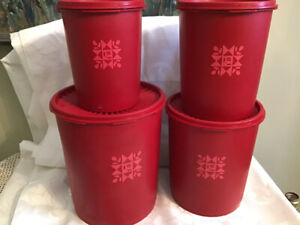 Vintage Cranberry Red Tupperware Canisters Tulip Quilt