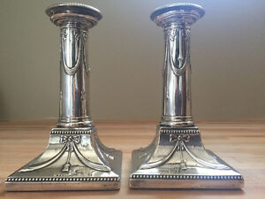 Sterling silver candlesticks, 1896