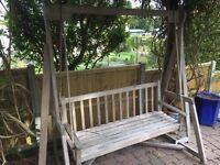 Teak garden swing bench
