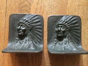 Antique Bronze Native American Indian Chief Bookends circ1900-40