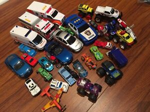 Assorted toy cars, trucks, motorcycles & more