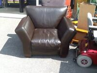 Brown leather chair.