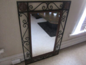 LARGE HEAVY WROUGHT IRON/WOODEN WALL MIRROR-VERY RUSTIC-INTACT