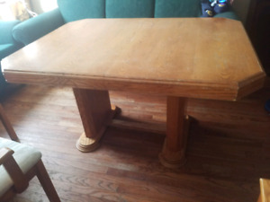 ( double pedestal Dining table with 6 chairs