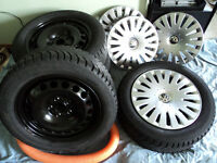 205/55R16 winter tires Origianal Volkswagen steel rims & covers