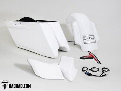 Bad Dad Race Series Stretched Rear Fender Saddlebag Kit Package Harley