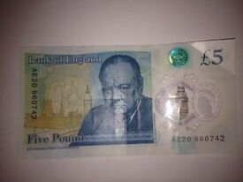 New polymer £5 note AE20 560742