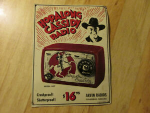 HOPALONG CASSIDY RADIO Tin Sign Ad Reproduction Vintage Cowboy