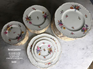 Vintage fine bone china dinnerware plate set - Royal Cauldon