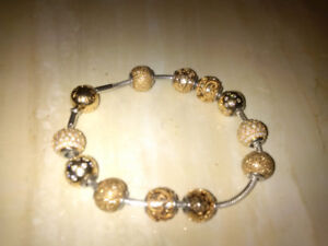 Pandora ESSENCE  Silver with 14K Gold Clasp  bracelet & Charms