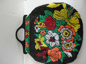Vintage women's black floral multicoloured beaded purse clutch