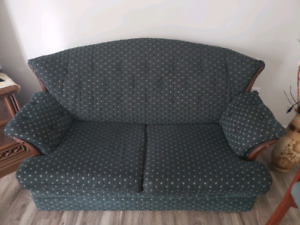 Sofa, 2 arm chairs, one love seat and chair, one end table