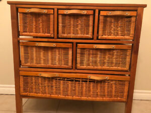 Light brown wicker storage unit