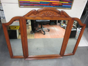Beautiful Huge real Oak vintage arched folding dresser mirror