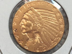 1912 $5 American Indian Gold Half Eagle Coin Almost Uncirculated