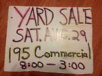 Yard Sale Saturday August 29 at 195 Commercial
