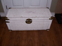 White Wicker Chest  28 by 12 and 12 inches Deep