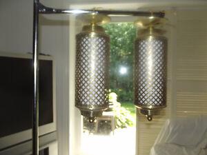 1960's Vintage Brass Hall Light set