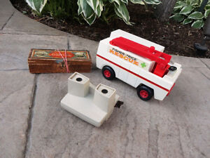 Set of Two Vintage Toys- Dominoes And a Fire Truck