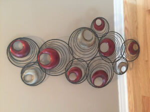 Metal wall art - red accent