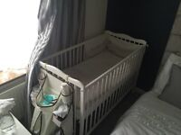 Baby Cot-White-Wood-with Mattress-Excellent condition