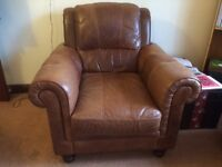 3 piece brown leather sofa and chairs