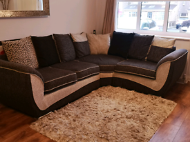 L Sofa - Scatter Back Cushion - Black/storm colour with chrome feet.