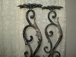 Tall Sculptured Wrought Iron Candle Holders