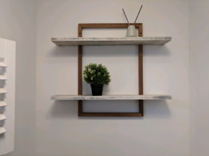 Walnut and stained pine shelves