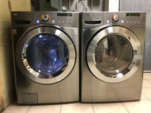 2 yr LG gas steam front load washer dryer with warranty for sale