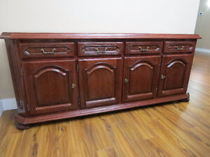 Long buffet cabinet in cherry black