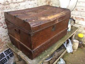 Vintage metal steamer trunk with top embellishments