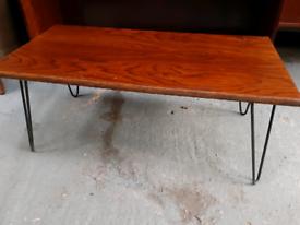 Vintage retro Danish wooden mid century 60s coffee table hairpin legs