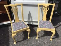 Pair of shabby chic vintage hot mustard yellow dining chairs