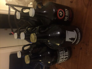 Set of craft beer growlers from across Canada