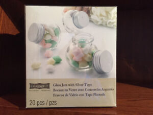 20 Piece set of Glass Jars with Silver Tops - New / Sealed box